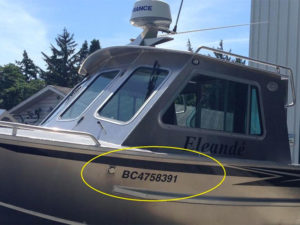 Decal - pleasure craft registration numbers